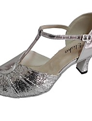 cheap -Women's Latin Shoes Sparkling Glitter / Leather Sandal Customized Heel Dance Shoes Silver / Blue / Silver / Black / Indoor