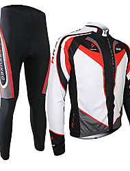 cheap -Arsuxeo Men's Long Sleeves Cycling Jersey with Tights - Black/Red Bike Clothing Suits, Thermal / Warm, Quick Dry, Breathable, 3D Pad