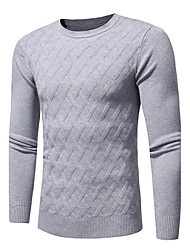 cheap -Men's Long Sleeves Pullover - Geometric, Print Round Neck
