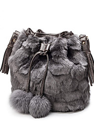 cheap -Women Bags Fur Shoulder Bag Feathers / Fur for Casual All Seasons Black Gray Light Gray Brown