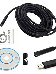 baratos -usb endoscope mini camera 7mm dia 15m comprimento cmos waterproof borescope inspection camera 6 conduzido serpente cam video visual