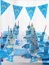 cheap -Birthday New Baby Party Accessories-Hats Tableware Sets Kitchen Tools Ornaments Patterned Plastics Paper Beach Theme Nautical Fairytale