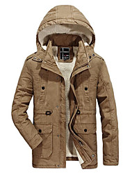 Men's Regular Parka Coat,Simple Plus Size Casual/Daily Color Block-Wool Cotton Rayon Long Sleeves