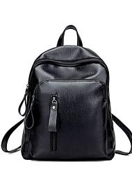 preiswerte -Unisex Taschen PU Rucksack Knöpfe Reißverschluss für Normal Ganzjährig Schwarz