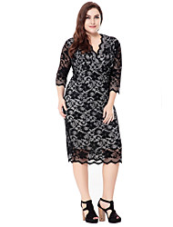 cheap -Women's Plus Size Going out Sophisticated Bodycon Sheath Lace Dress - Solid Colored Jacquard Lace Cut Out High Rise V Neck
