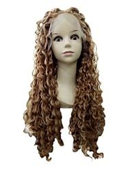 Longue longueur présente meilleur vente péruvienne cheveux humains crépus bouclés pleine dentelle perruques pour les femmes