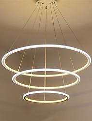 cheap -Modern LED Pendant Light Three Rings Living Room Restaurant External White light Inside Warm White