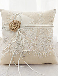 cheap -Laces Ribbon Flower(s) Bow Satin Silk Ring Pillows Wedding Ceremony