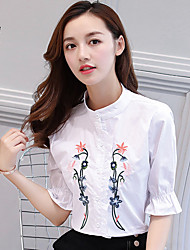 cheap -Women's Daily Casual Shirt,Embroidery Stand Half Sleeves Cotton