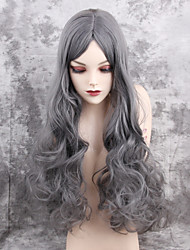 cheap -Synthetic Hair Wigs Wavy Middle Part Capless Natural Wigs Long Very Long Gray