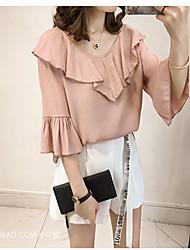 baratos -Mulheres Blusa Sólido Linho Decote V