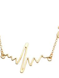 baratos -Mulheres Geométrica Colares com Pendentes - Chapeado Dourado Coração Geométrico, Fashion Dourado Colar Para Casual, Rua
