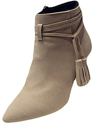 cheap -Women's Shoes PU Fall Winter Combat Boots Boots Kitten Heel Pointed Toe Mid-Calf Boots Zipper Tassel For Casual Gray Beige Black
