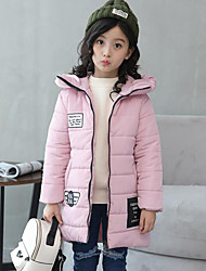 cheap -Girls' Print Patchwork Down & Cotton Padded,Polyester Winter Fall Long Sleeve Black Red Blushing Pink Light Blue