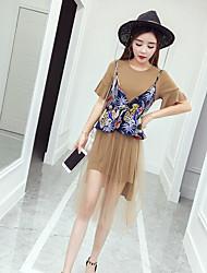 abordables -Mujer Simple Casual/Diario Verano T-Shirt Falda Trajes,Escote Redondo Un Color Estampado Manga Corta Microelástico