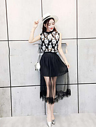 abordables -Mujer Simple Noche Verano Tank Top Falda Trajes,Escote Redondo Floral Sin Mangas