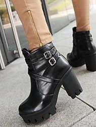 Damen Schuhe Nappaleder PU Herbst Winter Pumps Modische Stiefel Stiefel Blockabsatz Booties / Stiefeletten Für Normal Weiß Schwarz Gelb