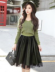 cheap -DABUWAWA Women's Party Going out Vintage Casual Street chic Swing Two Piece Sweater Dress,Solid Color Block V Neck Knee-length Long Sleeves