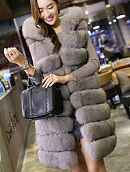 Women's Daily Going out Street chic Winter Fall Vest,Solid Hooded Long Fox Fur