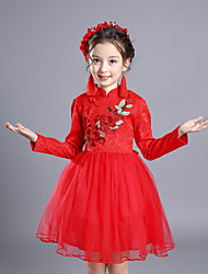 cheap -Girl's Solid Dress,Cotton Rayon Polyester Winter Fall Long Sleeve Vintage Party Elegant & Luxurious Red Blushing Pink