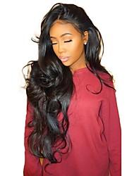 Недорогие -жен. Бразильские волосы Натуральные волосы Бесклеевая кружевная лента 150% плотность С пушком Парик Черный Длиный