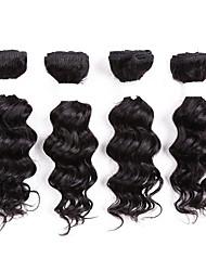 Недорогие -человеческие волосы бразильские одноразовые решения для волос с глубокими волнами 8pcs / pack black
