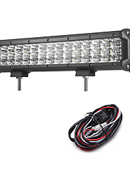 135W 13500LM 6000K 3-Rows LED Work Light Cool White Flood Offroad Driving Light for Car/Boat/Headlight IP68 9-32V  2m 1-To-1 Wiring Harness Kit