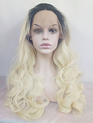 cheap -blonde synthetic lace front wig for black women natural wavy cheap good looking synthetic lace wigs heat resistant
