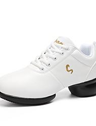 cheap -Unisex Dance Sneakers Leatherette Sneaker Splicing Split Sole White Customizable