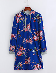 Недорогие -Жен. Шинуазери (китайский стиль) Свободный силуэт Туника Платье - Цветочный принт