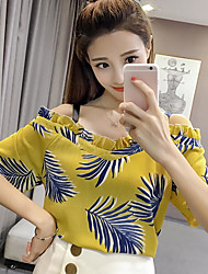 cheap -Women's Daily Casual Blouse,Print Boat Neck Short Sleeves Cotton
