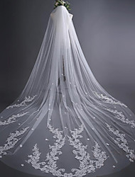 cheap -One-tier Wedding Veil Cathedral Veils With Applique Satin Flower Lace Tulle