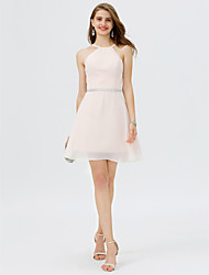 cheap -A-Line Jewel Neck Short / Mini Chiffon Satin Cocktail Party Dress with Crystal Detailing Sash / Ribbon by TS Couture®