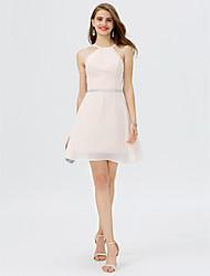 economico -Linea-A Con decorazione gioiello Corto / mini Chiffon Raso Cocktail Vestito con Dettagli con cristalli Fascia / fiocco in vita di TS
