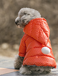 cheap -Dog Costume Coat Hoodie Christmas Dog Clothes Casual/Daily Waterproof Keep Warm Sports Polka Dots Orange Fuchsia Costume For Pets