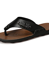 Men's Shoes PU Spring Fall Comfort Slippers & Flip-Flops Lace-up For Casual Brown Orange Black