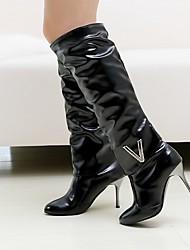 Feminino Sapatos Courino Couro Ecológico Outono Inverno Conforto Inovador Botas da Moda Botas Salto Agulha Ponta Redonda Botas Cano Alto
