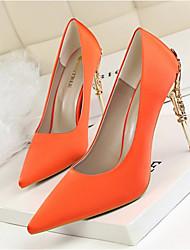 Feminino Sapatos Seda Primavera Outono Conforto Saltos Para Casamento Festas & Noite Branco Laranja Vermelho Verde Champanhe