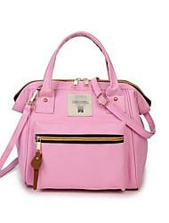 cheap -Women's Bags PU Shoulder Bag Zipper for Casual Black / Red / Blushing Pink