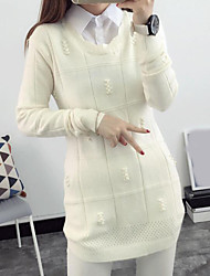 cheap -Women's Long Sleeves Wool Pullover - Solid