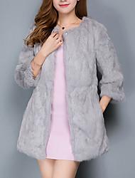 Недорогие -Для женщин На выход Осень Зима Пальто с мехом V-образный вырез,Простой Однотонный Обычная Длинный рукав,Полиэстер,Меховая оторочка