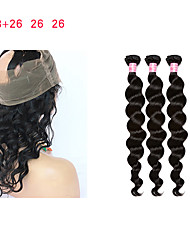 cheap -Mongolian Hair Remy Human Hair Loose Wave Human Hair Weaves Four-piece Suit