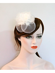 cheap -Gemstone & Crystal Tulle Net Fascinators Flowers Headpiece with Crystal Feather 1 Wedding Event/Party Party / Evening Headpiece
