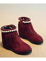 baratos -Para Meninas Sapatos Camurça Outono / Inverno Botas de Neve Botas para Preto / Marron / Vinho