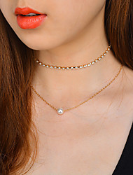 Women's Choker Necklaces Jewelry Round Line Imitation Pearl Zircon Alloy Basic Simple Style Elegant Jewelry For Daily Date