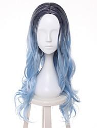 Femme Perruque Synthétique Court Ondulé Bleu Mèches Colorées / Balayées Racines foncées Au Milieu Coupe Dégradée Perruque de Cosplay