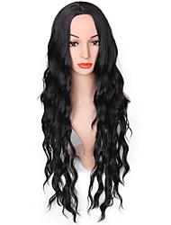 abordables -Mujer Pelucas sintéticas Largo Negro Peluca natural Pelucas para Disfraz