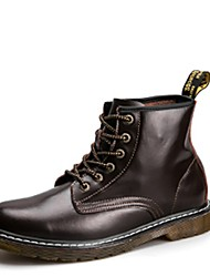 cheap -Men's Shoes PU Fall Comfort Boots Lace-up for Casual Black Coffee