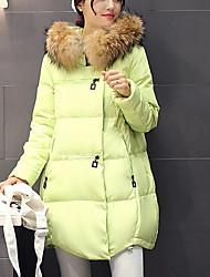 economico -Per donna Cotone Per uscire Moda città Largo Lungo Piumino Tinta unita / Colletto di pelliccia