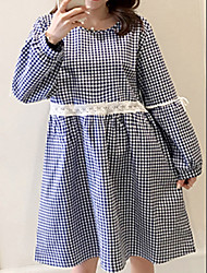 cheap -Women's Daily Loose Dress,Plaid Round Neck Knee-length Long Sleeves Others Fall High Waist Inelastic Medium